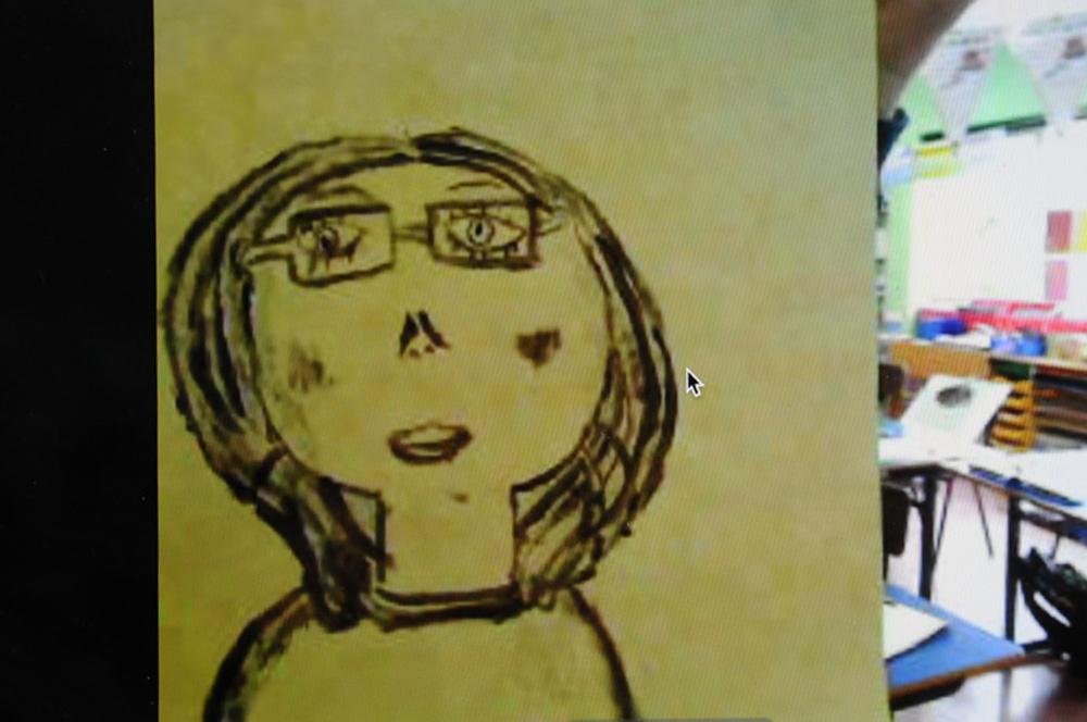 Line portrait with paint