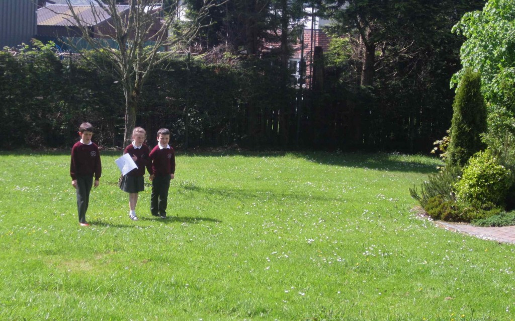 The children worked in four teams to measure spaces between things.