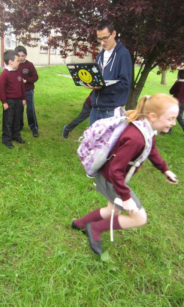 Grace sprints off....