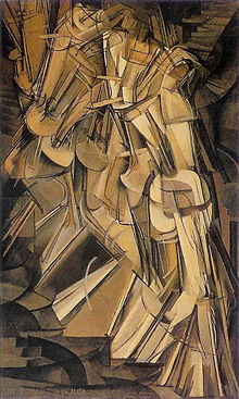 Nude descending staircase by Marcel Duchamp 1912