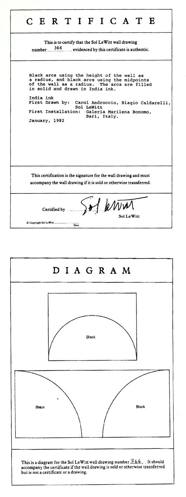 Sol le Witt ~ wall drawing certificate